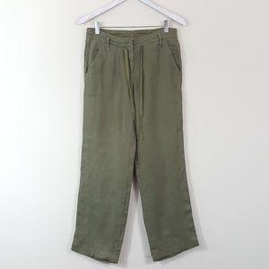 J. Crew 100% Linen City Fit Olive Green Pants 0